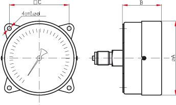 Манометр технический Росма - исполнение с задним фланцем